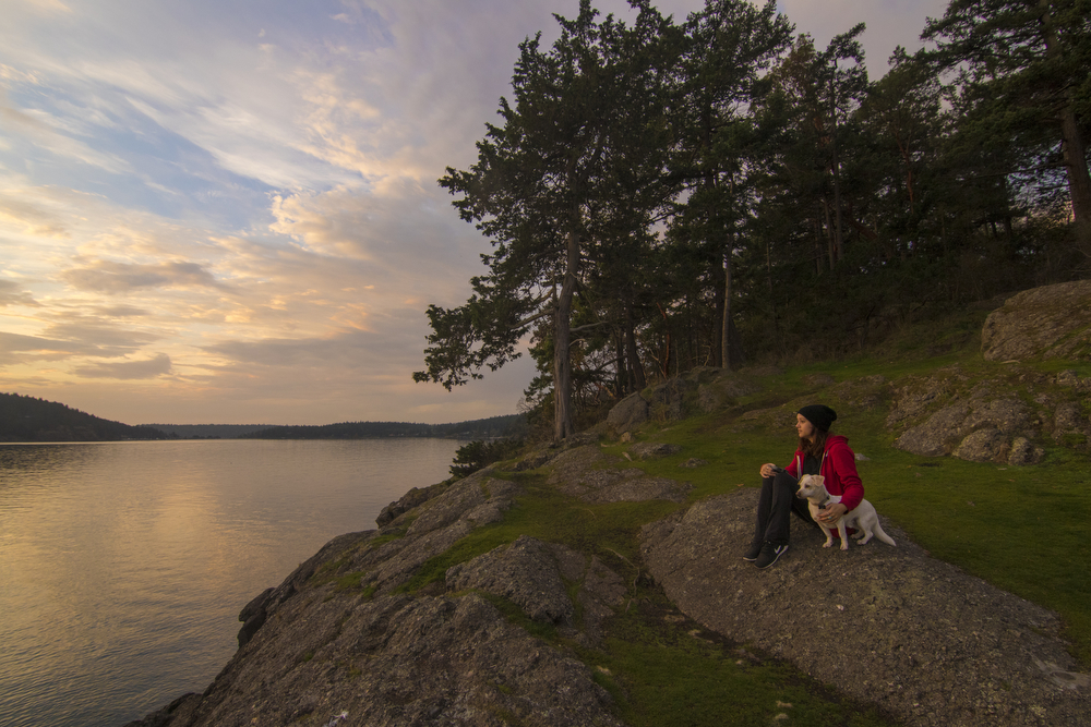 500px Photo ID: 125558325 - My girlfriend Alyne and dog Charlie taking in a San Juan Island sunrise.