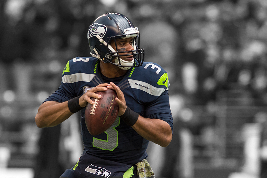 Black and white with a splash of seahawks colors equal motion - Seahawks wallpaper russell wilson ...