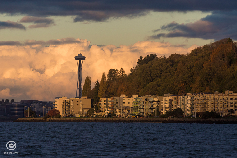 Fall colors in West Seattle along Alki Beach captured by Matt McDonald of EqualMotion.com.